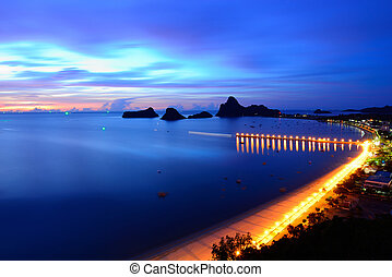 Sunrise view of Ao Manao bay in Prachuap Khiri Khan,...