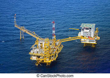 Top view offshore oil rig platform take from helicopter