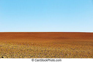 plowed soil of agricultural field background