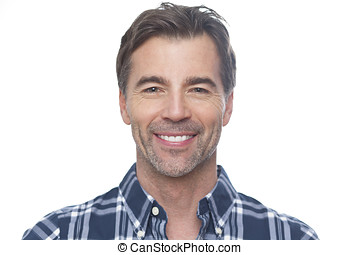 Portrait Of A Mature Man Smiling At The Camera Isolated On...
