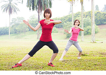 Asian practicing tai chi outdoor - Asian girls practicing...