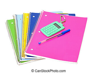 notebooks - colorful notebooks, pen and calculator isolated...