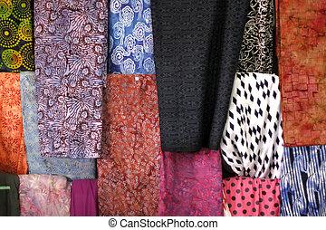 coloreado, textil, Tienda