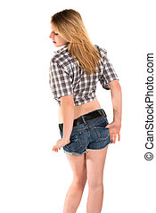 Blonde - Pretty young blonde in a plaid shirt