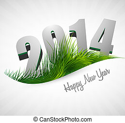 Celebration 2014 happy new year holiday card for grass wave...
