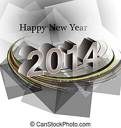 Vector happy new year 2014 reflection wave colorful creative...