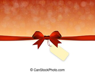 Shiny golden and red background with red bow with tag