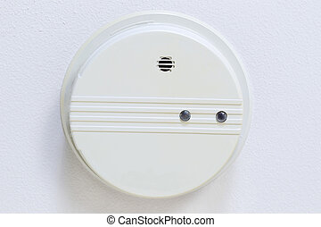 Home Smoke Detector mounted on Ceiling - Horizontal photo of...