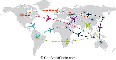 world travel with map and air plane