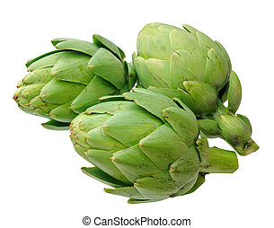 three artichoke isolated on white background