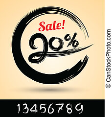 Sale ink drawn with numbers