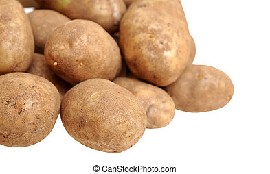 a pile of russet potato on white background