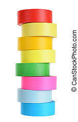 colorful tape roll isolated on white background