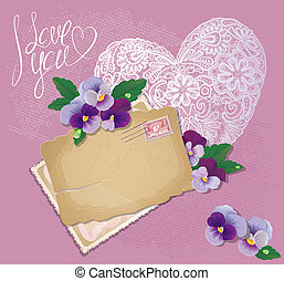 Vintage postcards, beautiful pansy flowers, lace heart and calligraphic text I love you - Background for Valentines Day design.