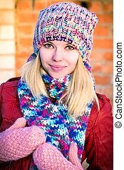 Young Woman Beautiful happy smiling Face Winter time wearing...