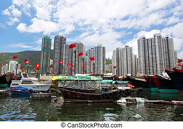 Hong Kong, traditional junks in the Aberdeen - Bay. Famous...
