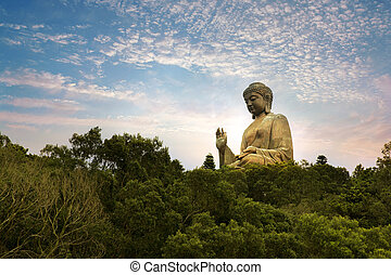 Tian Tan, Hong Kong - Giant bronze Buddha statue in Hong...