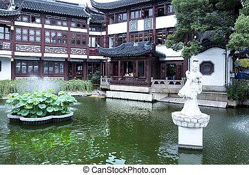 tradicional, jardim,  Shanghai