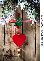 Christmas peg. - At the wooden board with pegs pinned...