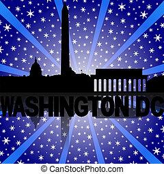 Washington DC skyline reflected with snow burst illustration