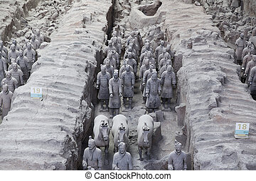 Xian, China - Beauriful view on the terracotta army in Xian,...