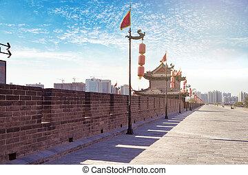 Xian, China - Beautiful view of ancient city wall of Xian,...