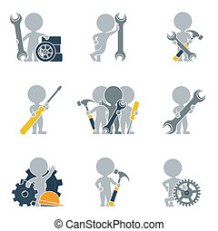 Flat people - mechanics - Collection of icons of people flat...