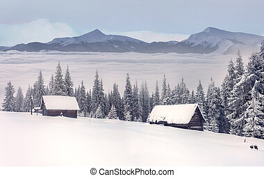 old farm in the mountains in winter