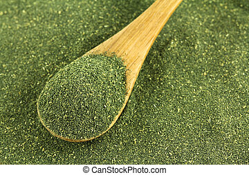 Japanese green tea Matcha powder - A spoon of fine Japanese...
