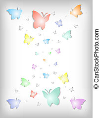 Abstract colorful paper butterflies