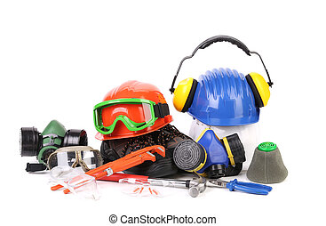 Varios safety equipment Isolated on a white backgropund