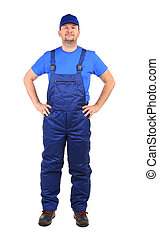 Worker in blue overalls Isolated on a white background