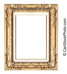 Picture frame gold wood frame in white background