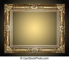 Picture Frame - Picture frame gold isolated on black...