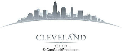 Cleveland Ohio city skyline silhouette white background -...