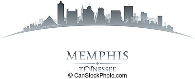 Memphis Tennessee city skyline silhouette white background -...