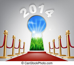 New Year Door Keyhole 2014 Concept of a keyhole with a new...