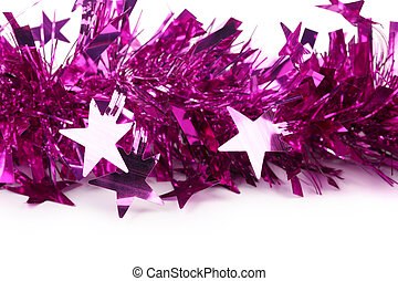 Christmas purple tinsel with stars.