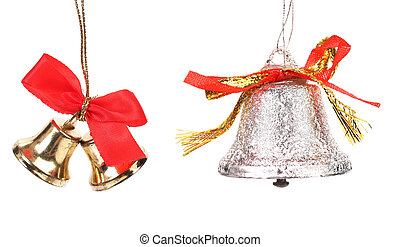 Two christmas jingle bells with red ribbon Isolated on a...