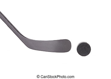 Black ice hockey stick and puck Isolated on a white...