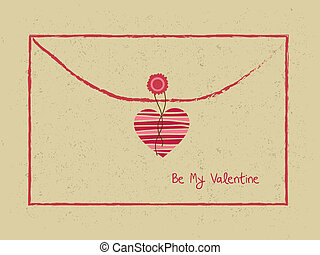 Valentine day letter hearts