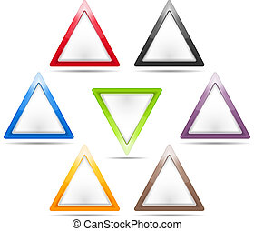 Triangle Signs - Set of blank triangle signs, vector eps10...