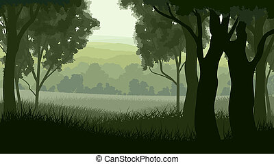 Illustration within forest. - Vector illustration of tree...