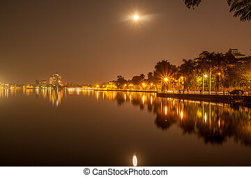 Full moon at west lake Ho tay, Hanoi, vietnam