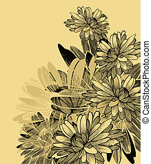Floral background with chrysanthemum flowers. Vector...