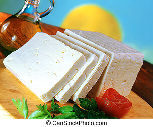 Sliced feta cheese