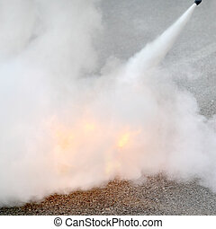 Fire fighting, how to use a fire extinguisher demonstration