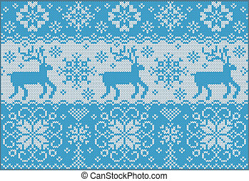 Knitted pattern with deers - Fashionable nordic pattern...
