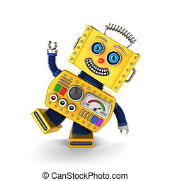 Yellow vintage toy robot goofing around - Cute yellow...