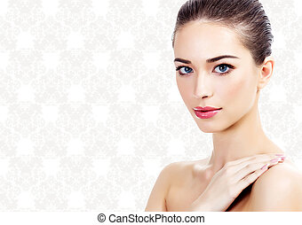 woman on rococo background - pretty woman on a classic...